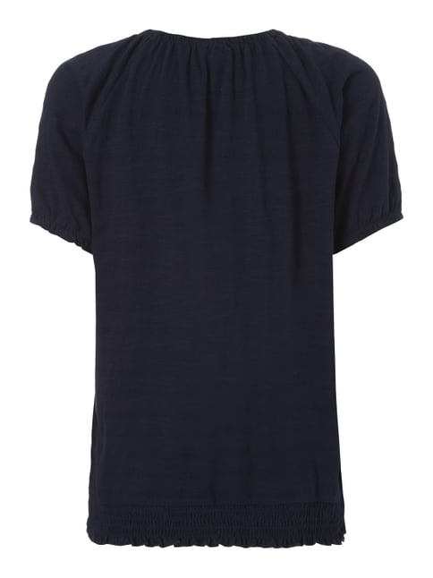Tom Tailor Off Shoulder Shirt mit Webmuster Marineblau - 1