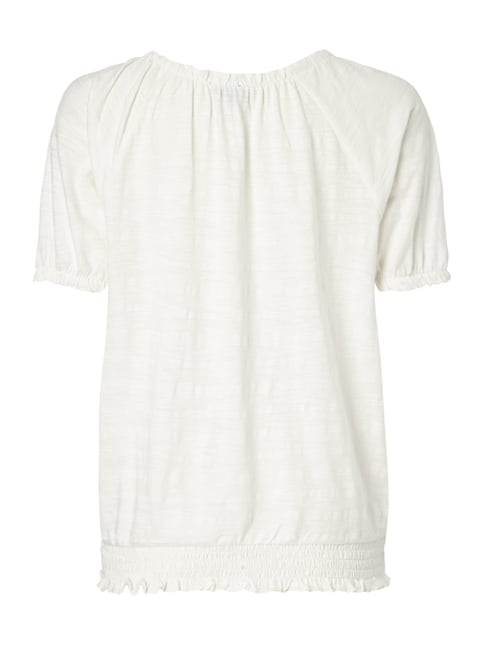 Tom Tailor Off Shoulder Shirt mit Webmuster Offwhite - 1