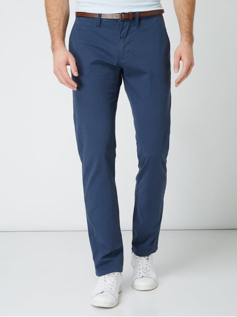 ... Tom Tailor Regular Fit Chino mit Gürtel Marineblau meliert - 1 8db4002fc5