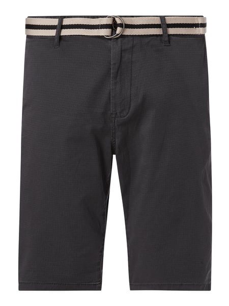Tom Tailor Regular Slim Fit Chino-Shorts mit Gürtel Modell 'Josh' Grau - 1