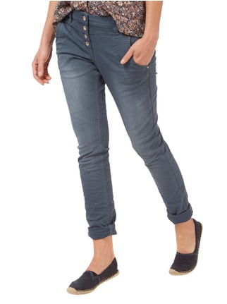 Tom Tailor Relaxed Tapered Fit Jeans mit Knopfleiste Petrol - 1