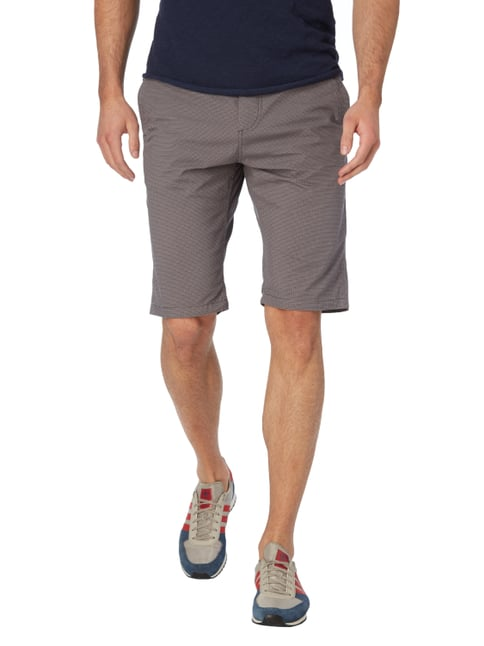 Tom Tailor Slim Fit Bermudas mit Allover-Muster Mittelgrau - 1