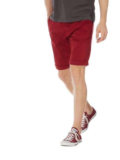 Tom Tailor Slim Fit Chinoshorts mit Gürtel Rot - 1
