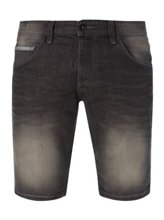 Stone Washed Regular Fit Jeansbermudas Grau / Schwarz - 1