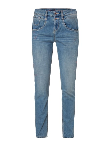 Stone Washed Relaxed Tapered Fit Jeans Blau / Türkis - 1