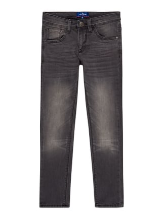 Stone Washed Skinny Fit 5-Pocket-Jeans Grau / Schwarz - 1