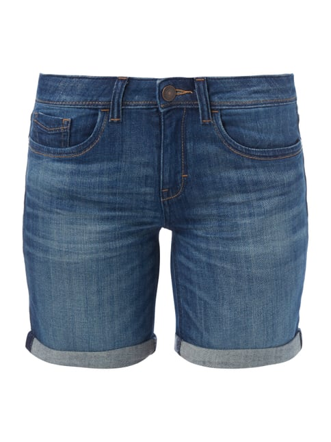 Stone Washed Slim Fit Jeansbermudas Blau / Türkis - 1
