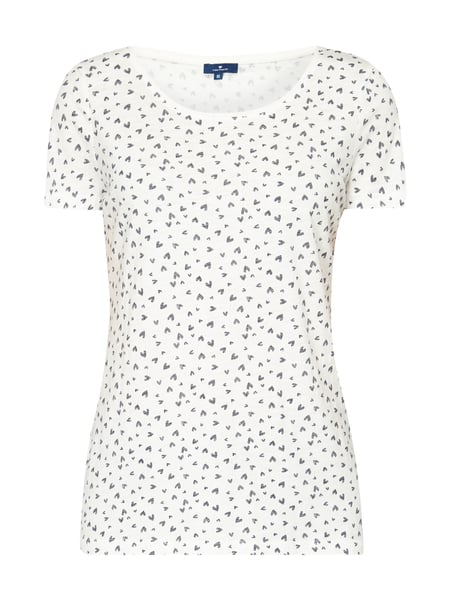 Tom Tailor T-Shirt mit Allover-Muster Offwhite meliert