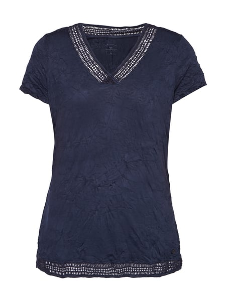 Tom Tailor T-Shirt mit Crinkle-Effekt Marineblau
