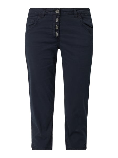 Tom Tailor Tapered Fit Caprihose mit Knopfleiste Blau - 1