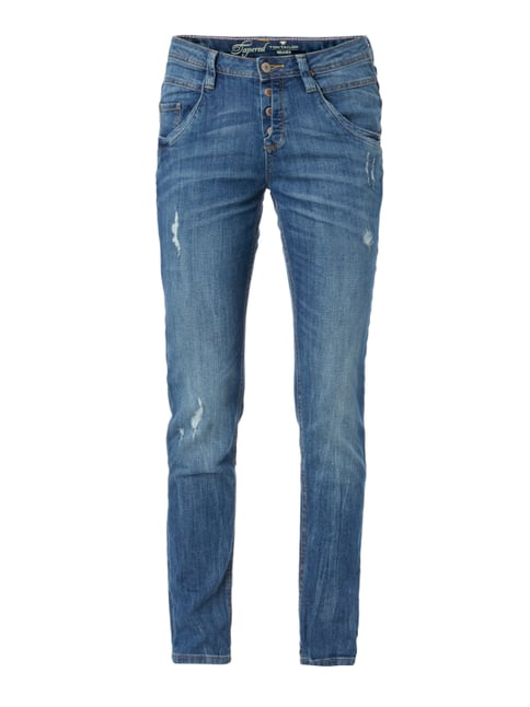 Tapered Fit Jeans im Used Look Blau / Türkis - 1