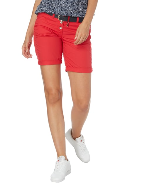 Tom Tailor Tapered Relaxed Fit Bermudas mit Knopfleiste Kirschrot - 1