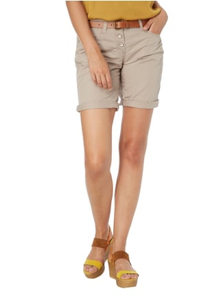 Tom Tailor Tapered Relaxed Fit Bermudas mit Knopfleiste Kitt - 1