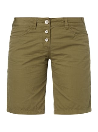 Tapered Relaxed Fit Bermudas mit Knopfleiste Grün - 1