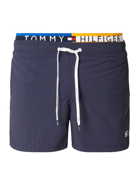 tommy hilfiger badeshorts mit eingewebtem logo in blau. Black Bedroom Furniture Sets. Home Design Ideas