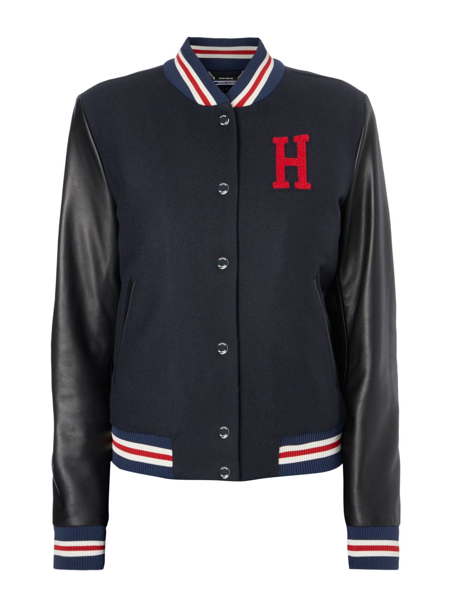 tommy hilfiger bomber mit rmeln aus leder in blau. Black Bedroom Furniture Sets. Home Design Ideas