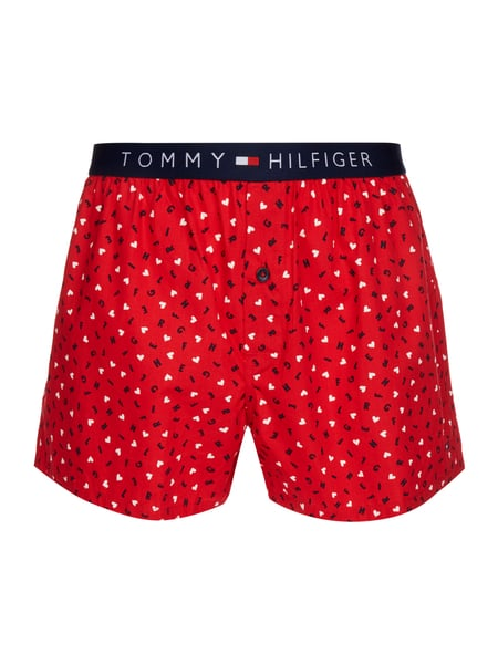 44a2c554c841f1 Tommy Hilfiger – Boxershorts mit Logo-Muster – Rot