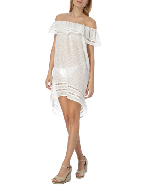 Tommy Hilfiger Off Shoulder Strandkleid mit ornamentalem Muster in Weiß - 1