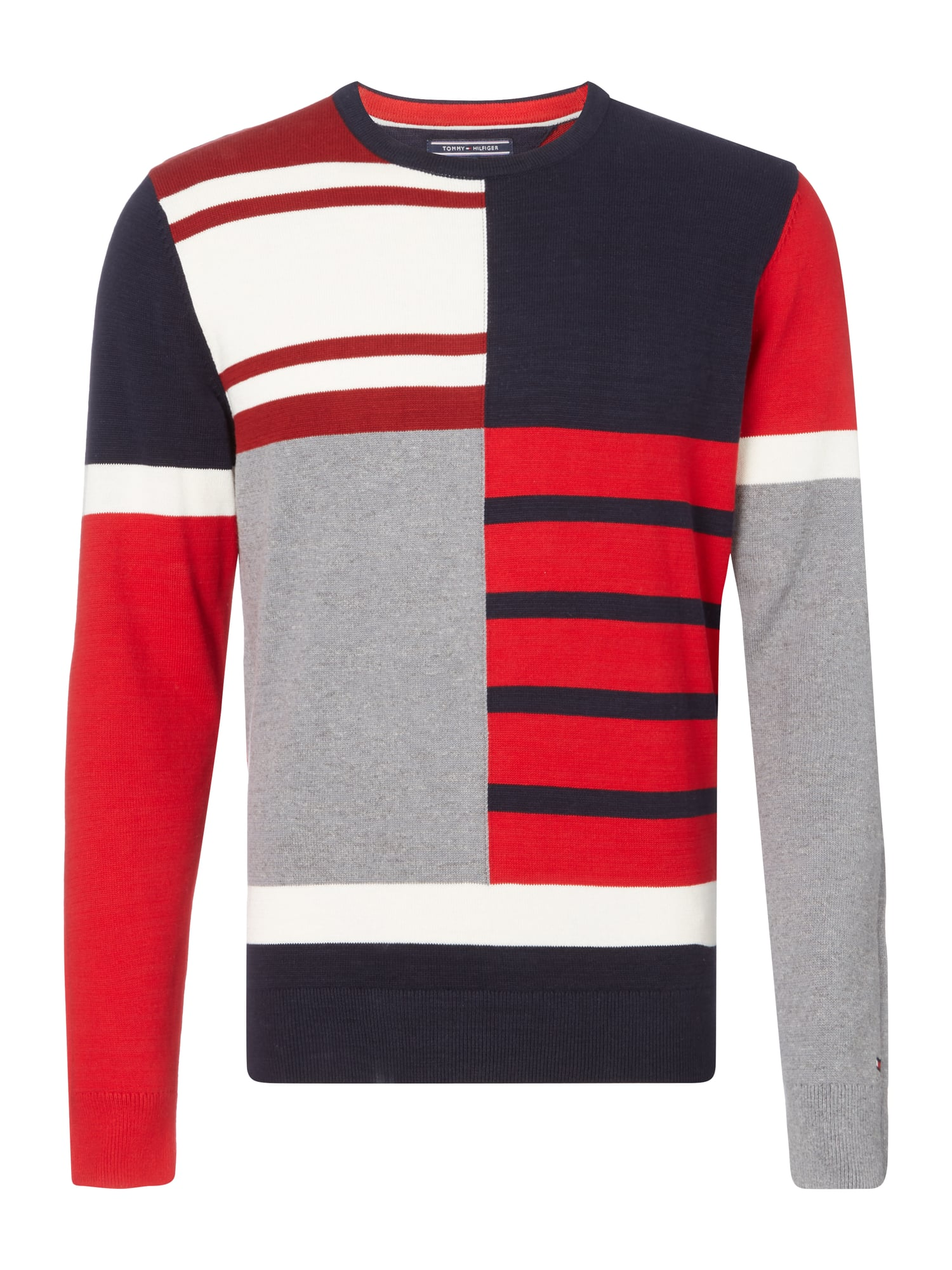 TOMMY-HILFIGER Pullover im Color-Block Look in Rot online kaufen ...