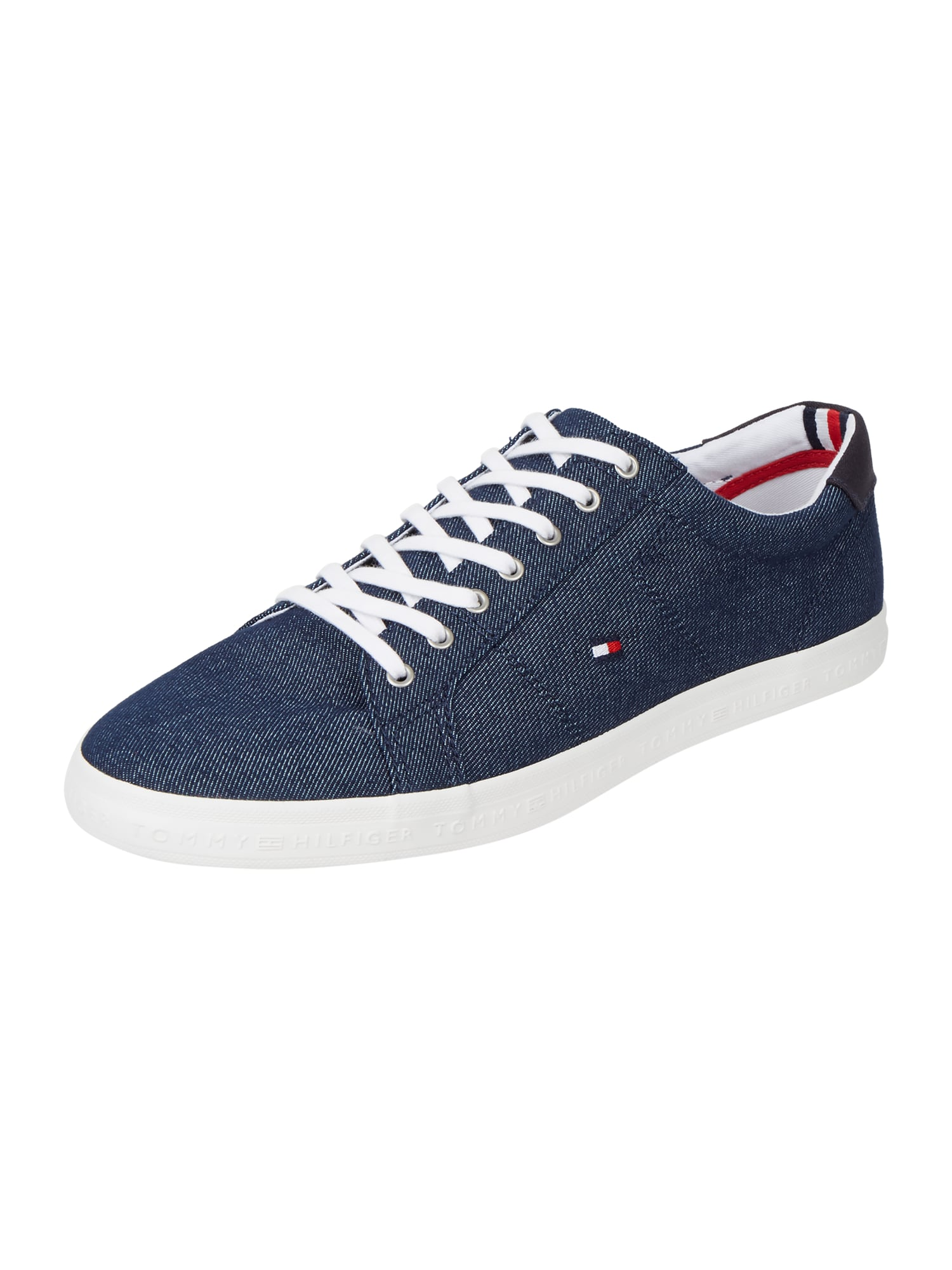 tommy hilfiger sneaker aus canvas in denimoptik in blau. Black Bedroom Furniture Sets. Home Design Ideas
