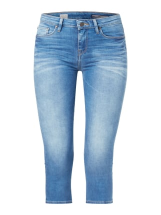 Stone Washed Jegging Fit Caprijeans Blau / Türkis - 1