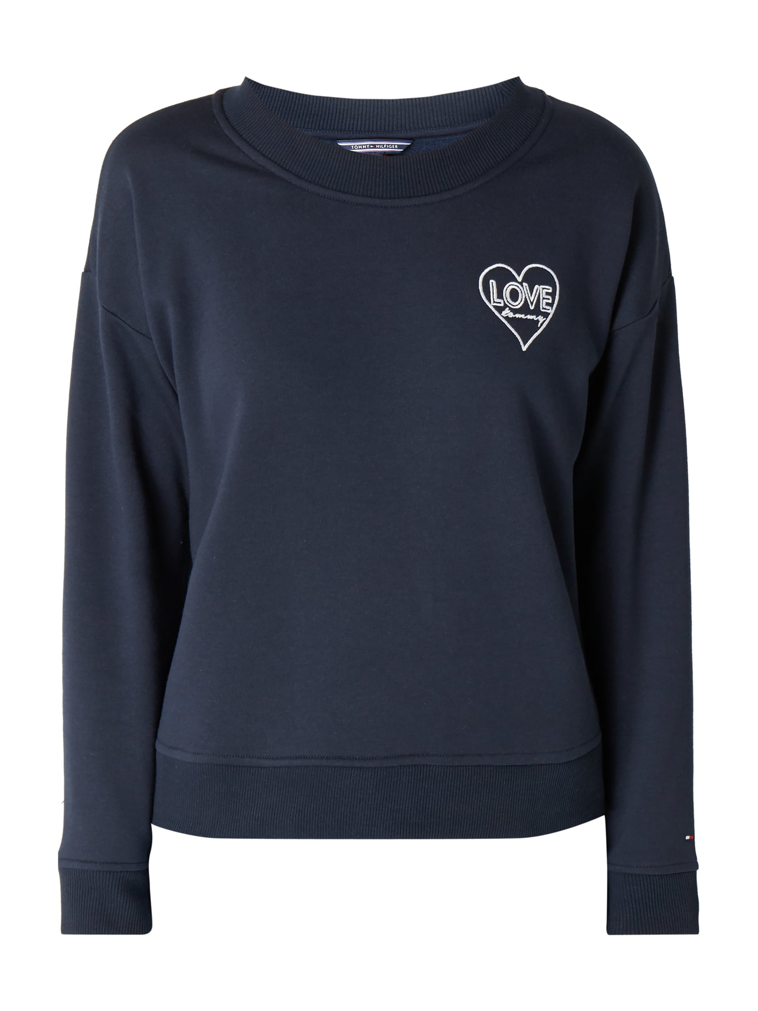 tommy hilfiger sweatshirt mit herz stickereien in blau. Black Bedroom Furniture Sets. Home Design Ideas