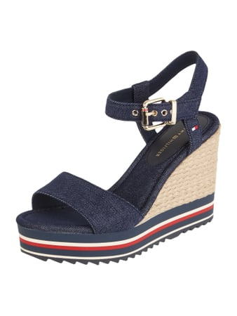 Wedges aus Canvas in Denimoptik Blau / Türkis - 1