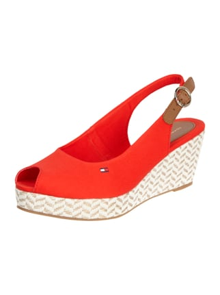 Wedges aus Canvas mit Peeptoe Rot - 1