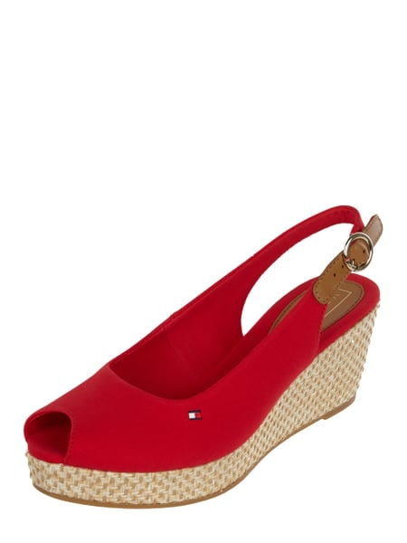 Tommy Hilfiger Wedges aus Textil mit Peeptoes Rot - 1