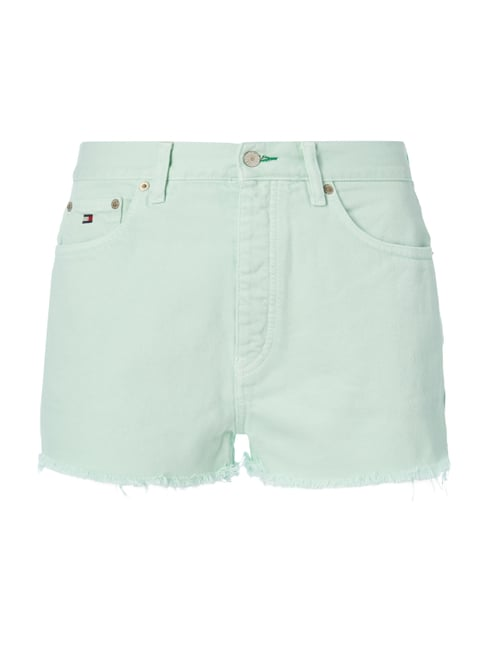 Coloured High Waist Jeansshorts Grün - 1