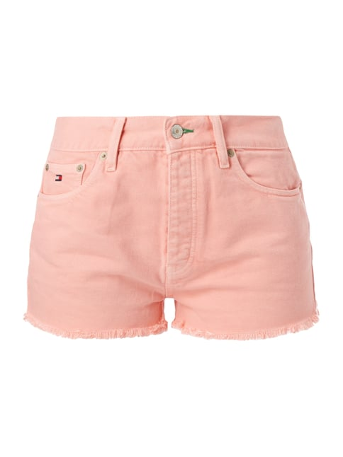 Coloured High Waist Jeansshorts Rosé - 1