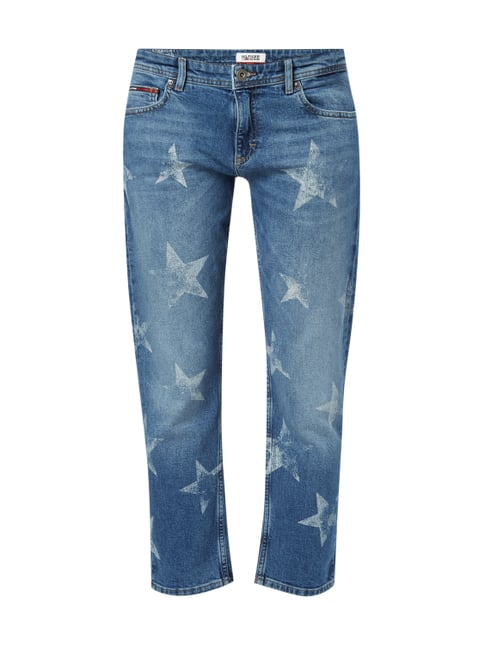 Cropped Straight Fit Jeans mit Sternenmuster Blau / Türkis - 1