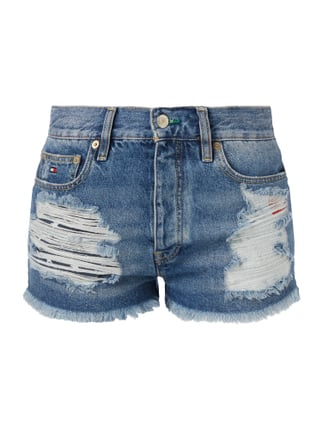 High Waist Jeansshorts im Destroyed Look Blau / Türkis - 1