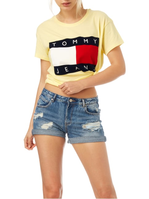Hilfiger Denim Oversized T-Shirt mit Logo-Flockprint Hellgelb - 1