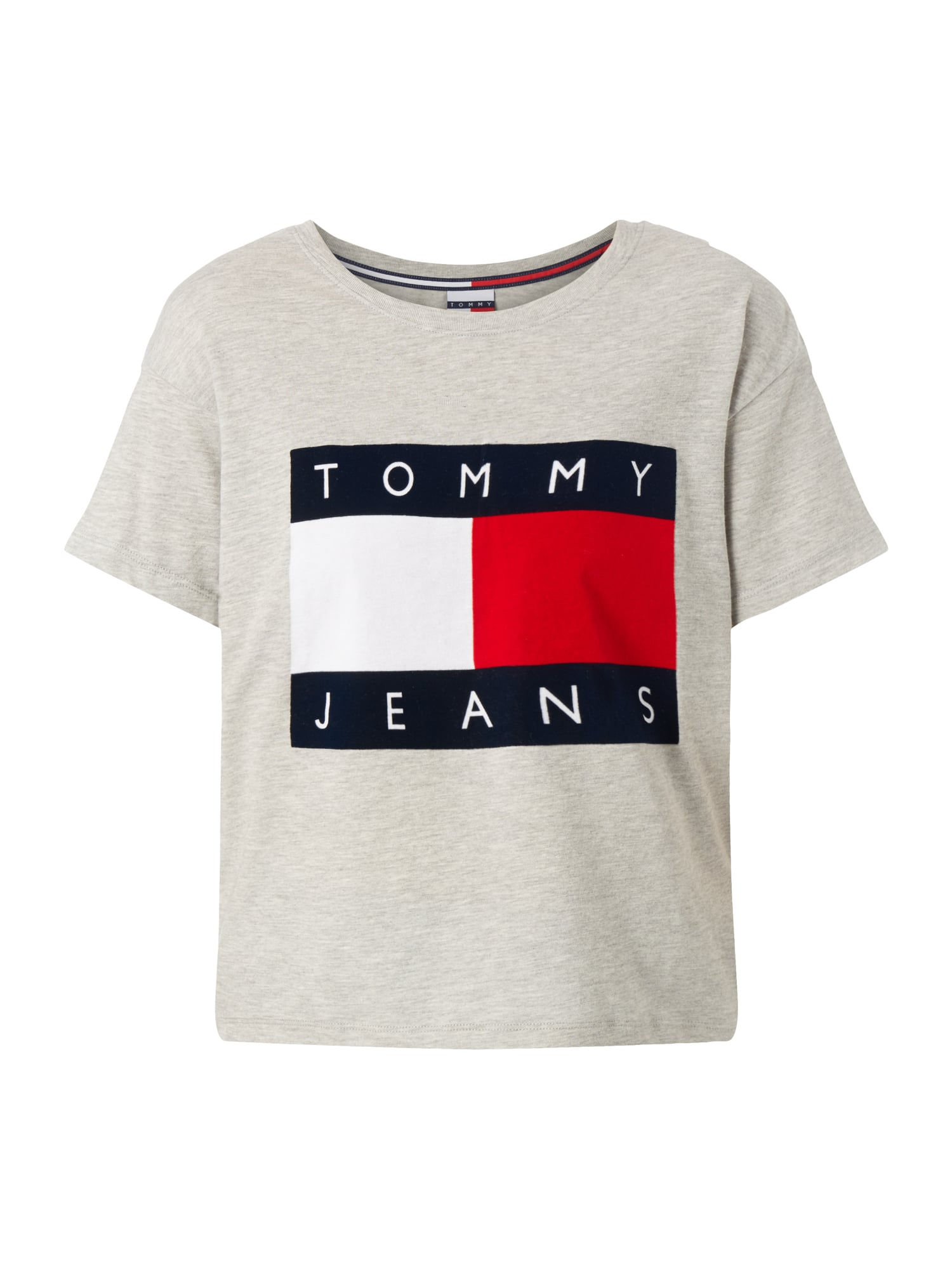 tommy jeans oversized t shirt mit logo flockprint in grau. Black Bedroom Furniture Sets. Home Design Ideas