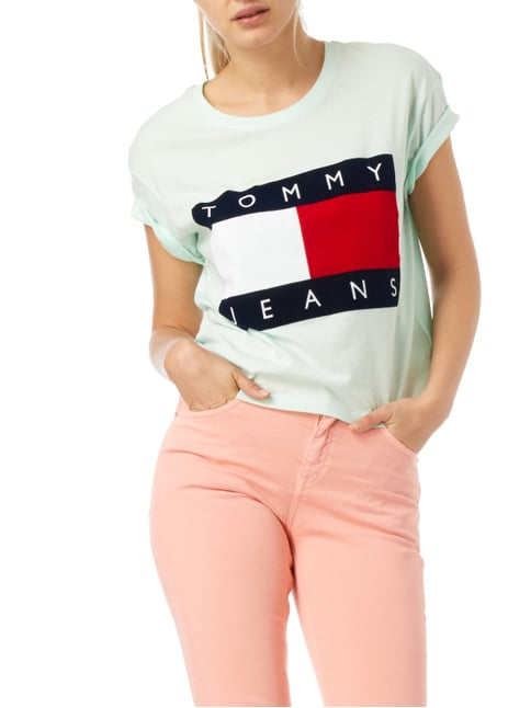 Hilfiger Denim Oversized T-Shirt mit Logo-Flockprint Mint - 1
