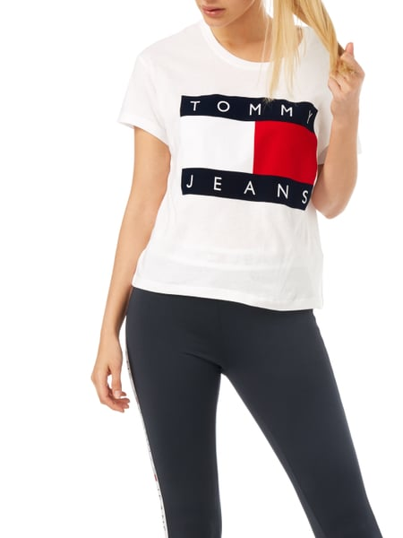 tommy jeans oversized t shirt mit logo flockprint in wei. Black Bedroom Furniture Sets. Home Design Ideas