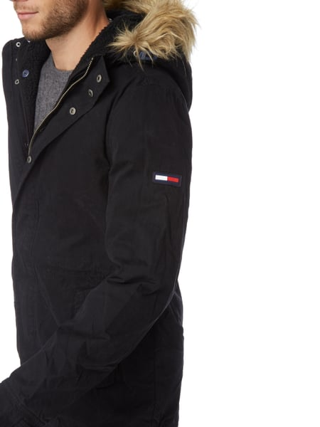 tommy jeans parka mit herausnehmbarem teddyfutter in grau. Black Bedroom Furniture Sets. Home Design Ideas