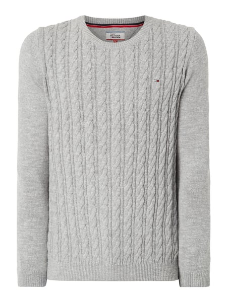Tommy Jeans Thdm Basic Cable - Pullover aus Baumwolle Mittelgrau meliert
