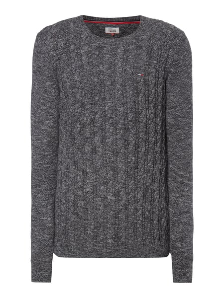 Tommy Jeans Thdm Basic Cable - Pullover aus Baumwolle Schwarz