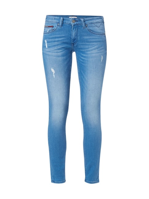 Skinny Fit 5-Pocket-Jeans im Used Look Blau / Türkis - 1