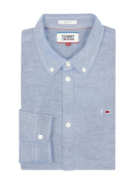 Tommy Jeans Slim Fit Freizeithemd aus Oxford Blau - 1