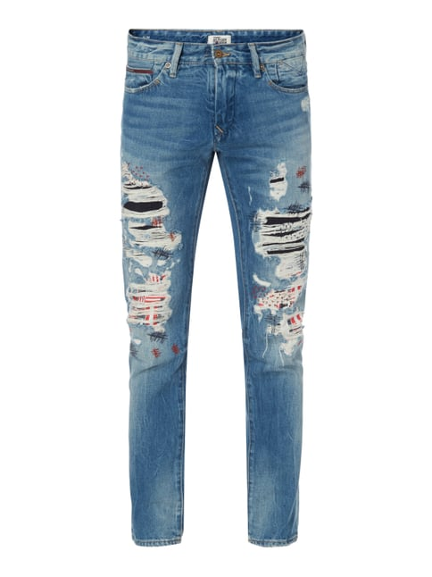 Slim Fit Jeans im Destroyed & Repaired Look Blau / Türkis - 1