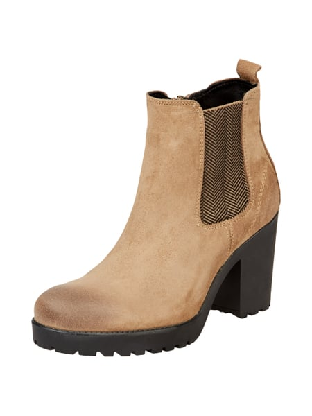 Tommy Jeans Stiefelette aus Veloursleder Taupe