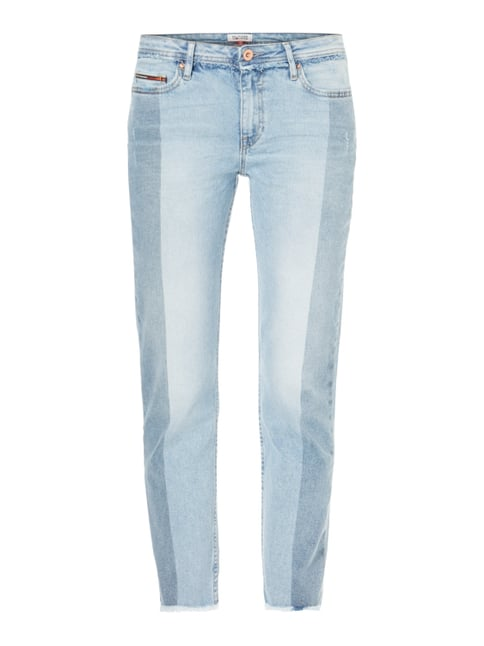 Straight Fit Ankle Cut Jeans im Used Look Grau / Schwarz - 1