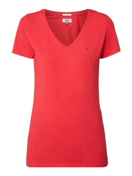 Tommy Jeans Tjw Cotton Stret - T-Shirt mit Stretch-Anteil Rot