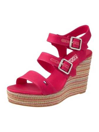 Wedges mit Riemen aus Canvas Rosé - 1