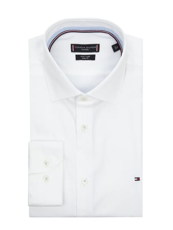 TOMMY TAILORED Slim Fit Business-Hemd aus Twill Weiß - 1