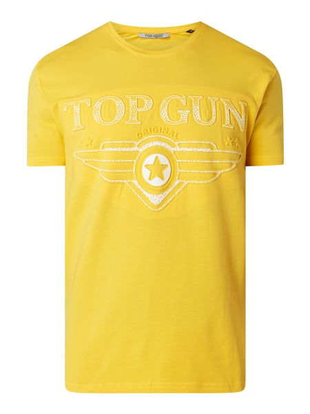 Top Gun T-Shirt mit Logo-Print in 3D-Optik Gelb - 1