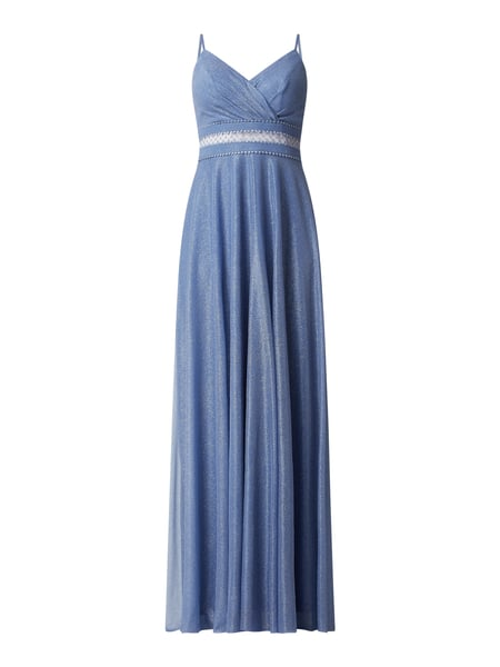 TROYDEN COLLECTION Abendkleid mit V-Ausschnitt in Wickel-Optik Blau - 1